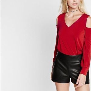 Express Cold Shoulder Red V-neck long sleeve